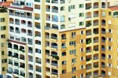 Modern city residential apartments in high rise building with balconies — Stock Photo