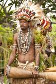 Tufi Papua New Guinea 4 December 2008 : Young Papuan Korafe tribe warrior wearing traditional bird of paradise feather headdress and body decorations during local festival in his village — Stock Photo