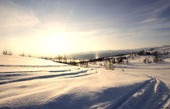 Snow Covered Mountain Tracks — Stock Photo