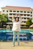 Girl doing yoga exercise — Stock Photo