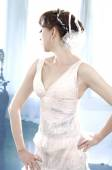 Young and beautiful bridge in white dress — Stock Photo