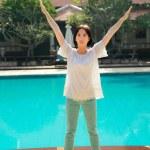 Woman doing yoga — Stock Photo #52570753