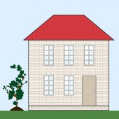 Brick house with red tile roof — Stock Vector