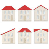 Set of brick houses with different red tile roofs — Stock Vector