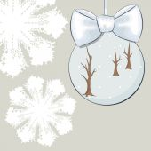 Christmas bauble with bow and snowflakes — Stock Vector