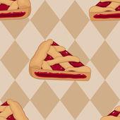Pieces of cherry tart seamless pattern — Stock Vector