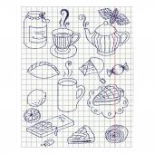 Paper sheet with ink drawing teatime set — Stok Vektör