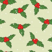 Christmas seamless pattern with ilex berries and leaves — Stock Vector