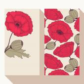 Red poppy flowers business card set — Stock Vector
