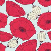 Red poppy flowers seamless pattern — Stock Vector