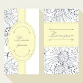 Business card set with outline ladybug and daisy — Stockvektor