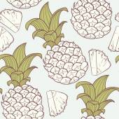 Stylized outline seamless pattern with pineapple — Stock Vector