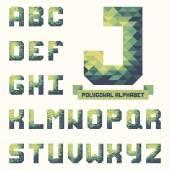 Full polygonal triangular alphabet. Trendy typeset for your design — Stock Vector