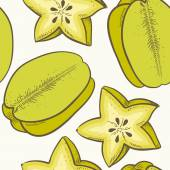 Fruit seamless pattern with green carambola — Vettoriale Stock