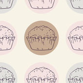 Retro seamless pattern with muffins — Stock Vector