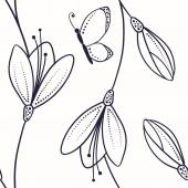 Abstract seamless pattern with flowers and butterfly in sketch style — Stockvector