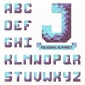 Full polygonal triangular alphabet. Trendy typeset in vector — Stock Vector
