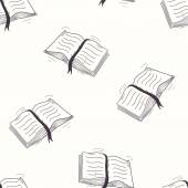 Sketched open book seamless pattern — ストックベクタ