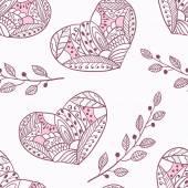 Doodle patrón inconsútil de corazones — Vector de stock