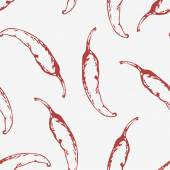Outline seamless pattern with hand drawn chili peppers — Stock Vector