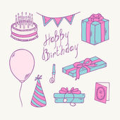 Doodle birthday item collection — Vettoriale Stock