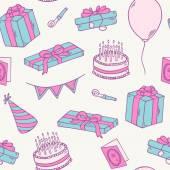 手描きの誕生日パーティのシームレス パターン — ストックベクタ