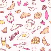 Doodle breakfast seamless pattern — Stock Vector