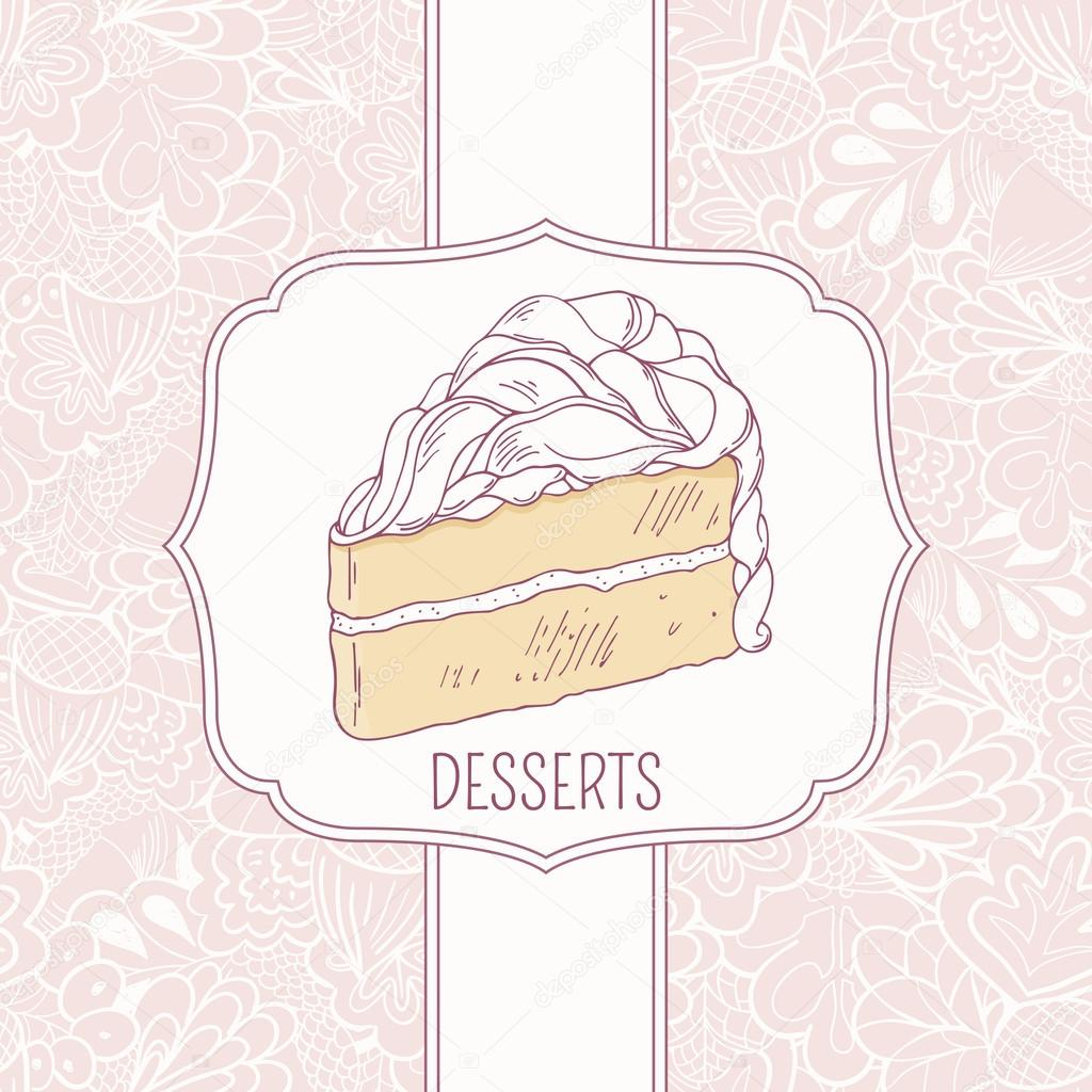 Dessert menu template with sweet cake and doodle pattern – Dessert Menu Template