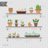 Set of house plants in pots  — Stockvector