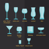Different types of glasses, stemware and glasses — Stock Vector