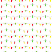 Seamless pattern of colored light bulbs garlands — Stock Vector