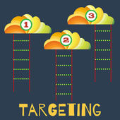 Targeting, the staircase into the clouds, cloud technologies, achieve goals — Stock Vector