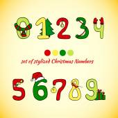 Christmas vector set of stylized numbers — Stock Vector