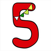 Vector stylized Christmas figure. Number 5.  — Stock Vector