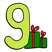 Vector stylized Christmas figure. Number 9. — Stock Vector