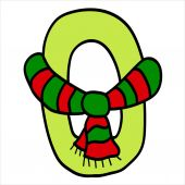 Vector stylized Christmas figure. Number 0.  — Stock Vector
