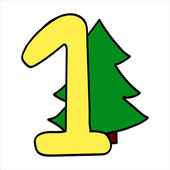 Vector stylized Christmas figure. Number 1.  — Stock Vector