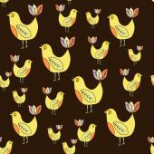 Seamless pattern of cute birdie — Stock vektor