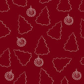 Seamless pattern of Christmas trees and Christmas balls — Vecteur