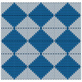 Knitted seamless pattern of blue and white rhombuses — Stockvektor