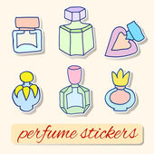 Set of vector images of labels of bottles of perfume — Stock Vector