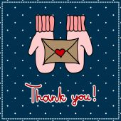 Thank you card with mittens and a letter on a dark background — Cтоковый вектор