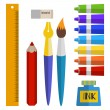 Set of tools and materials for drawing. paints in tubes, brush, pen, ink, pencil — Stock Vector #60126437
