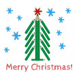 Christmas tree made of colored pencils and the words Merry Christmas — Vector de stock  #60494193