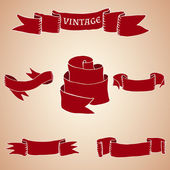 Set of vintage ribbons and banners — Stock Vector