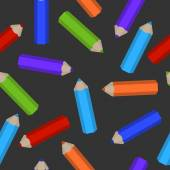 Seamless pattern of colored pencils scattered — Stock vektor