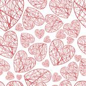 Seamless background hearts of different sizes of thread — Stock Vector