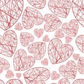 Sömlös bakgrund hjärtan i olika storlekar av tråd — Stockvektor