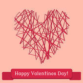 Greeting card for Valentine's Day, the heart of the thread — Stock Vector
