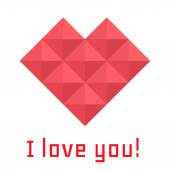 Icon heart of triangles, banner, I love you — Stok Vektör